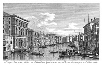 0600307 © Granger - Historical Picture ArchiveVENICE: GRAND CANAL, 1735.   The Grand Canal in Venice, Italy, looking southwest from the Palazzo Grimani to the Palazzo Foscari. Engraving, 1735, by Antonio Visentini after Canaletto.