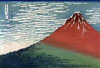 0021897 © Granger - Historical Picture ArchiveHOKUSAI: FUJI.   Fugi in Clear Weather. Japanese color woodcut by Katsushika Hokusai (1760-1849).