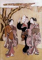 0021899 © Granger - Historical Picture ArchiveHARUNOBU: WATERFALL.   Flirting at the Waterfall. Japanese color woodcut by Suzuki Harunobu (d. 1770).