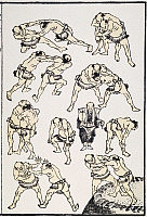 0034913 © Granger - Historical Picture ArchiveHOKUSAI: SUMO.   Japanese Sumo wrestlers practicing for a match. At center, with a fan, is the referee. Woodblock print, 1817, by Katsushika Hokusai for his 'Manga'.