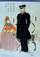 0117010 © Granger - Historical Picture ArchiveJAPAN: YOKOHAMA, c1861.   An American merchant and his daughter walking with a dog on a leash in Yokohama, Japan. Japanese woodcut in colors by Sadahide Utagawa, c1861.