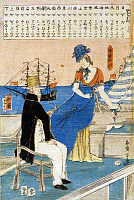 0117011 © Granger - Historical Picture ArchiveJAPAN: WATERFRONT, c1860.   A French woman and a Dutch man seated near the waterfront with ships in the background, and showing the Japanese characters for meteorology, geography, and directions above. Woodcut in colors by Utagawa Yoshiiku (Ochiai), c1860.