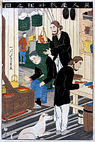 0117012 © Granger - Historical Picture ArchiveJAPAN: COOKING   Caucasian men cooking in the kitchen of a foreign settlement house in Japan with a dog in the foreground. Woodcut in colors by Yoshikazu Utagawa, c1860.