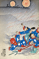 0117450 © Granger - Historical Picture ArchiveSINO JAPANESE WAR, c1895.   A battle during the Sino Japanese War between Chinese soldiers and Japanese General Major Odera, shown on horseback on a cliff in a snowstorm at Weihaiwei Bay, resulting in Odera's death. Left panel of a triptych, color woodcut by Kokunimasa Utagawa, c1895.