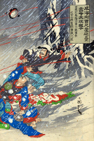 0117456 © Granger - Historical Picture ArchiveSINO JAPANESE WAR, c1895.   A battle during the Sino Japanese War between Chinese soldiers and Japanese General Major Odera in a snowstorm at Weihaiwei Bay, resulting in Odera's death. Right panel of a triptych, color woodcut by Kokunimasa Utagawa, c1895.
