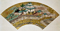 0118867 © Granger - Historical Picture ArchiveJAPAN: JESUIT CHURCH.   Japanese fan, late 16th century or early 17th century, decorated with a painting by Kano Motohide of a Jesuit church, probably at Kobe.