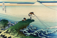 0119911 © Granger - Historical Picture ArchiveKATSUSHIKA: FISHING, c1834.   A man fishing from a rock shaped like a wave, with Mount Fuji in the background. Color woodcut by Hokusai Katsushika, c1834.