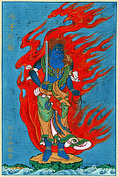 0119913 © Granger - Historical Picture ArchiveJAPANESE FIGURE, c1878.   Mythological Buddhist or Hindu figure, standing on a small island among waves before flames with a head of a phoenix. Japanese ink drawing, c1878.