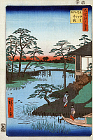 0127343 © Granger - Historical Picture ArchiveJAPAN: INLET, 1857.   Two women approaching a temple building on the Uchigawa Inlet in Tokyo, Japan, next to the Gozensaihata gardens. Woodblock print by Ando Hiroshige, 1857.