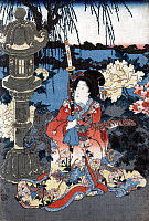 0127349 © Granger - Historical Picture ArchiveJAPAN: WOMAN IN GARDEN.   A woman seated beside giant peonies in a garden in Japan. Woodblock print by Utagawa Kunisada II, c1850.