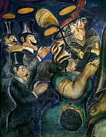 0103976 © Granger - Historical Picture ArchiveOROZCO: CHURCHGOERS, 1926.   'Churchgoers.' Satirical painting of the hypocrital piety of the upper class. Mural by José Clemente Orozco, 1926. EDITORIAL USE ONLY.