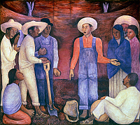 0103980 © Granger - Historical Picture ArchiveRIVERA: REVOLUTION, 1926-27.   'Revolution, Florescence.' A worker-teacher explains the aim of the Revolution to a group of laborers in a detail of a mural painting by Diego Rivera in the chapel at the National Agricultural School in Chapingo, Mexico, 1926-27. EDITORIAL USE ONLY.