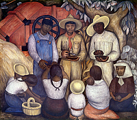 0103991 © Granger - Historical Picture ArchiveRIVERA: REVOLUTION, 1926-27.   'Revolution, Fruitification.' Farm women bring lunch to three archetypical workers in a detail of a mural by Diego Rivera in the chapel at the National Agricultural School in Chapingo, Mexico, 1926-27. EDITORIAL USE ONLY.