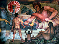 0104017 © Granger - Historical Picture ArchiveRIVERA: FRUITION, 1927.   'Fruition: The Fecund Earth.' A god-like figure gives man fire as electricity. Detail from a mural by Diego Rivera in the auditorium of the National School of Agriculture in Chapingo, Mexico, 1929. EDITORIAL USE ONLY.