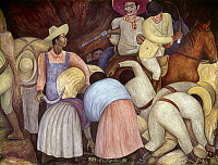 0104816 © Granger - Historical Picture ArchiveRIVERA: MURAL, 1920s.   A farmer stands up to his oppressor. Detail from a mural about the Mexican Revolution, by Diego Rivera at the National Agricultural School in Chapingo, Mexico, 1920s. EDITORIAL USE ONLY.