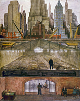 0165685 © Granger - Historical Picture ArchiveRIVERA: FROZEN ASSETS, 1931.   Mural painting by Diego Rivera, 1931, depicting the Manhattan skyline, commuters in the subways, a homeless shelter and a safety deposit vault. EDITORIAL USE ONLY.