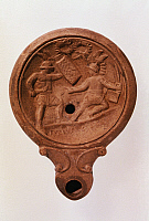 0019124 © Granger - Historical Picture ArchiveROMAN OIL LAMP.   Gladiatorial contest. 1st century A.D. RESTRICTED OUTSIDE US.