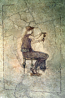 0032527 © Granger - Historical Picture ArchiveROMAN WOMAN, 25 B.C.   A young Roman woman decanting perfume into an alabaster vessel. Roman fresco, c25 B.C.