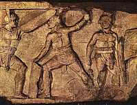 0130717 © Granger - Historical Picture ArchiveROMAN RELIEF: GLADIATORS.   Fight between gladiators. Roman terracotta relief, 1st-3rd century A.D.