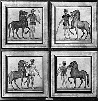0130859 © Granger - Historical Picture ArchiveROMAN MOSAIC: CHARIOTEERS.   Charioteers representing (clockwise from top left) the green, red, blue, and white factions of the circus, with their horses. Roman mosaics, 3rd century A.D.