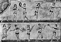 0130866 © Granger - Historical Picture ArchiveROMAN MOSAIC: GYMNASTS.   A group of women gymnasts wearing bikinis and exercising. Roman mosaic from the Villa Romana del Casale, Piazza Armerina, Sicily, 4th century A.D.