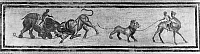 0130868 © Granger - Historical Picture ArchiveROMAN MOSAIC: BESTIARII.   While one bestiarius goads a fight between an elephant and a bull (left), another, riding a camel, leads a lion by a leash. Pavement mosaic from the Temple of Diana on the Aventine Hill in Rome, late 1st century B.C.-early 1st century A.D.
