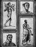 0130870 © Granger - Historical Picture ArchiveROMAN MOSAIC: ATHLETES.   Roman mosaic of athletes and (lower right) the judge of a sporting contest, from the Baths of Caracalla, 3rd century A.D.