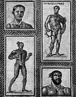0130871 © Granger - Historical Picture ArchiveROMAN MOSAIC: ATHLETES.   Roman mosaic of athletes from the Baths of Caracalla, 3rd century A.D.