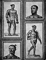 0130872 © Granger - Historical Picture ArchiveROMAN MOSAIC: ATHLETES.   Roman mosaic of athletes, including (upper left) a boxer wearing caestus, from the Baths of Caracalla, 3rd century A.D.