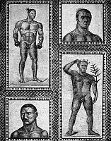 0130873 © Granger - Historical Picture ArchiveROMAN MOSAIC: ATHLETES.   Roman mosaic of athletes, including (upper left) a boxer wearing caestus, from the Baths of Caracalla, 3rd century A.D.