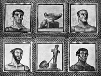 0130875 © Granger - Historical Picture ArchiveROMAN MOSAIC: ATHLETES.   Roman mosaic of athletes from the Baths of Caracalla, 3rd century A.D.