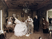 0024493 © Granger - Historical Picture ArchiveFEDOTOV: COURTSHIP, 1848.   The Major's Courtship or He Improves His Situation, by Pavel Fedotov. Oil, 1848.