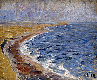 0026020 © Granger - Historical Picture ArchiveLARSEN: BEACH, 1911.   'Sunlit Beach in December, Funen.' Oil on canvas, by Johannes Larsen, 1911.