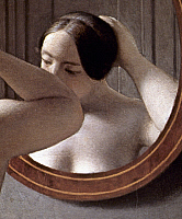 0036349 © Granger - Historical Picture ArchiveECKERSBERG: MIRROR, 1837.   Detail of 'A Nude Woman Doing her Hair Before a Mirror.' Oil on canvas by Christoffer Wilhelm Eckersberg, 1841.