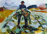 0352648 © Granger - Historical Picture ArchiveMUNCH: CABBAGE FIELD, 1916.   'Man in the Cabbage Field.' Oil on canvas by Edvard Munch, 1916.
