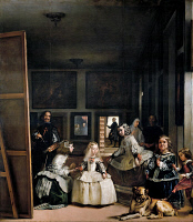 0022957 © Granger - Historical Picture ArchiveVELASQUEZ: LAS MENINAS.   Velazquez painting the Infanta Margarita surrounded by her maids of honor, a chaperone, a bodyguard, a dwarf and a dog. King Philip IV and Queen Mariana are reflected in the mirror. Oil on canvas, 1656, by Diego Velasquez.