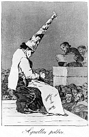 0163326 © Granger - Historical Picture ArchiveGOYA: INQUISITION.   A heretic being judged during the Spanish Inquisition. Etching from the series, 'Los Caprichos,' by Francisco Goya, 1799.