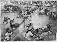 0163379 © Granger - Historical Picture ArchiveGOYA: BULLFIGHTING.   'Division de Plaza, O Plaza Partida (the Divided Arena).' Lithograph by Francisco Goya, early 19th century.