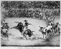 0163381 © Granger - Historical Picture ArchiveGOYA: BULLFIGHTING.   'The Famous American, Mariano Ceballos.' Lithograph by Francisco Goya, early 19th century.