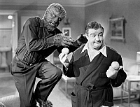 0056638 © Granger - Historical Picture ArchiveABBOTT AND COSTELLO.   The Wolf Man (Lon Chaney, Jr.) goes after Wilbur (Lou Costello) in 'Abbott and Costello Meet Frankenstein,' 1948.