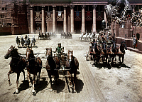 0120647 © Granger - Historical Picture ArchiveBEN HUR, 1959.   Chariot race from the 1959 film version directed by William Wyler and starring Charlton Heston.