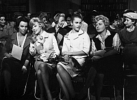 0088813 © Granger - Historical Picture ArchiveFILM: THE CHAPMAN REPORT.   Claire Bloom, Glynis Johns, Jane Fonda, and Shelley Winters listen to Dr. Chapman explain his sex survey in a scene from the 1962 motion picture 'The Chapman Report.'