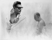 0120970 © Granger - Historical Picture ArchiveFELLINI: 8 1/2, 1963.   Marcello Mastroianni, left, as the protagonist in the spa scene from Federico Fellini's 1963 film   '8 1/2.'