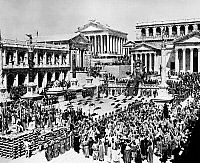 0012734 © Granger - Historical Picture ArchiveFALL OF THE ROMAN EMPIRE.   A scene in the Roman Forum from the 1964 film, 'The Fall of the Roman Empire.'