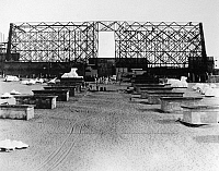 0122844 © Granger - Historical Picture ArchiveHOLLYWOOD STUDIO, 1923.   The 'Avenue of the (plaster) Sphinxes' being put together on the Paramount back lot for the Cecil B. DeMille 1923 extravaganza 'The Ten Commandments.'