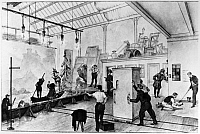 0123241 © Granger - Historical Picture ArchiveFILM STUDIO, 1903.   Filming a scene, Gessler's death, for 'William Tell' at the Pathé Studio in Paris. Line engraving, French, 1903.