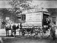 0123243 © Granger - Historical Picture ArchiveFILM CAMERA WAGON, 1898.   'Billy' Bitzer, who later became D.W. Griffith's cameraman, with the camera in the Biograph Pictures camera wagon. Biograph produced movies to be shown at the Keith Theaters. Photograph, Boston, Massachusetts, 1898.