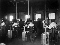 0123249 © Granger - Historical Picture ArchiveFILM COMPANY, 1909.   The testing department in Hoboken, News Jersey, of the Biograph Comapany, later known as Biograph Studios. Photograph, 1909.
