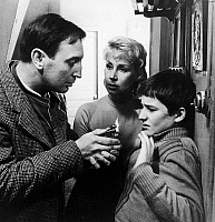0120972 © Granger - Historical Picture ArchiveFILM: 400 BLOWS, 1959.   Jean-Pierre Léaud as young Antoine Doinel with his parents, played by Claire Maurier and Albert Rémy, in a scene from François Truffaut's film 'The 400 Blows,' 1959.