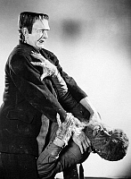0014514 © Granger - Historical Picture ArchiveFRANKENSTEIN & WOLFMAN.   American film still from 'Frankenstein Meets the Wolf Man,' 1943, with Bela Lugosi as the Frankenstein Monster and Lon Chaney Jr. as The Wolf Man